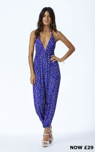 Genie Jumpsuit in Royal Blue Floral