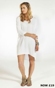 V-Neck Throw On Drape Dress - White